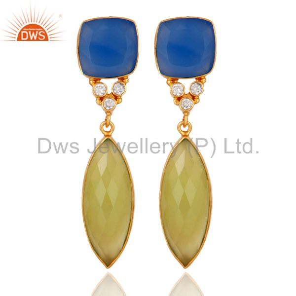 18K Yellow Gold Plated Blue Chalcedony Bezel Fashion Dangle Earrings With CZ