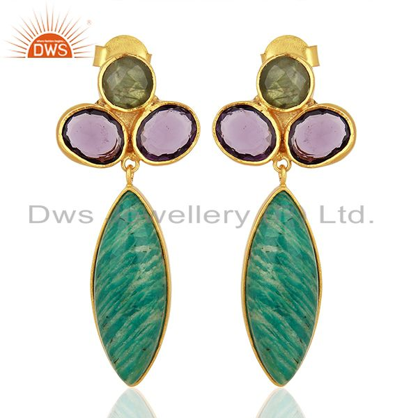 Amazonite Gemstone Handmade Gold Plated Fsahion Earrings Jewelry