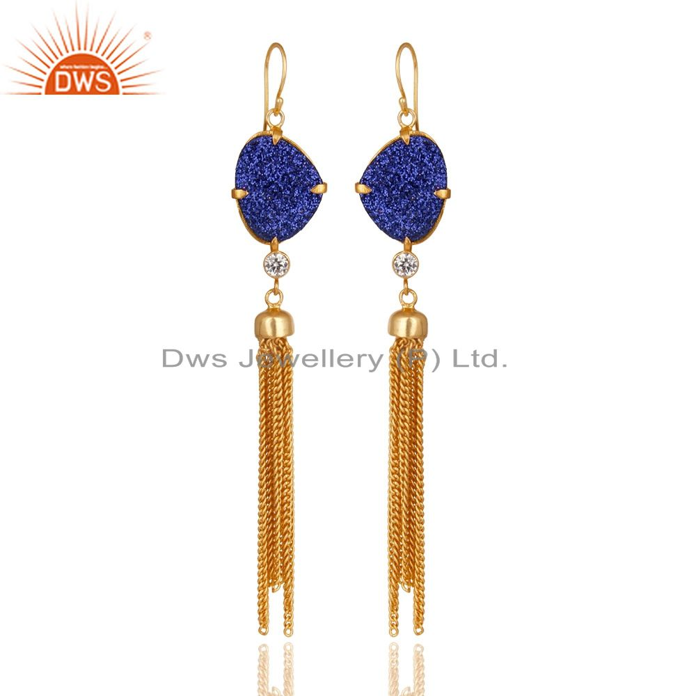 24K Yellow Gold Plated Brass Blue Druzy And CZ Chain Chandelier Earrings