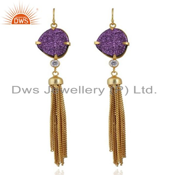 24K Yellow Gold Plated Brass Purple Druzy And CZ Chain Chandelier Earrings