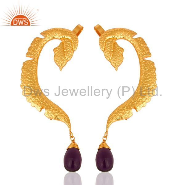 Hydro Amethyst Gemstone 18K Gold Plated Brass Fashion Ear Cuff Earrings Jewelry