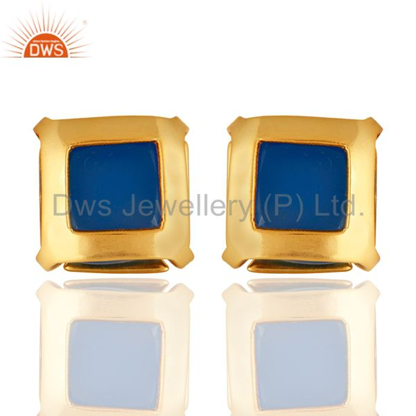 18K Yellow Gold Plated Faceted Blue Chalcedony Womens Stud Earrings