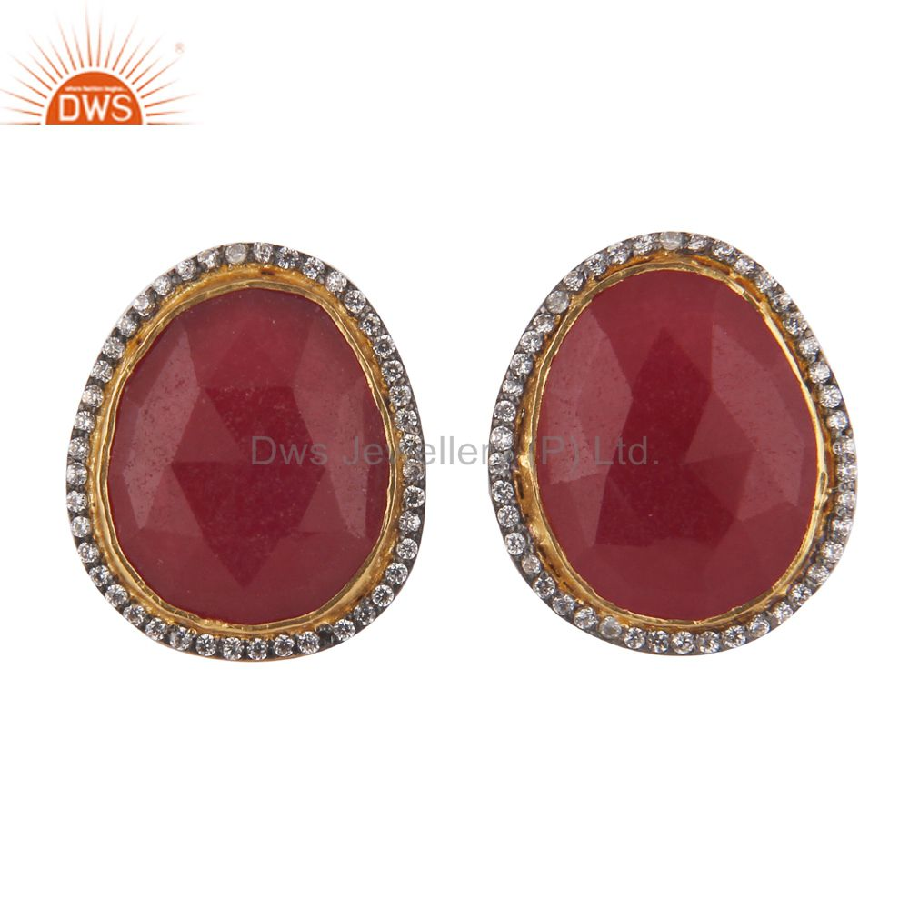 22K Yellow Gold Plated Brass Red Aventurine And CZ Womens Stud Earrings