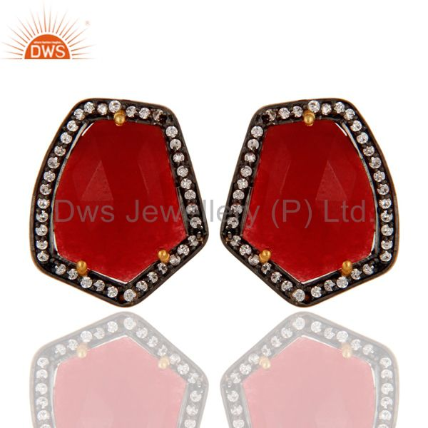 18K Yellow Gold Plated Red Aventurine Gemstone Womens Stud Earrings With CZ