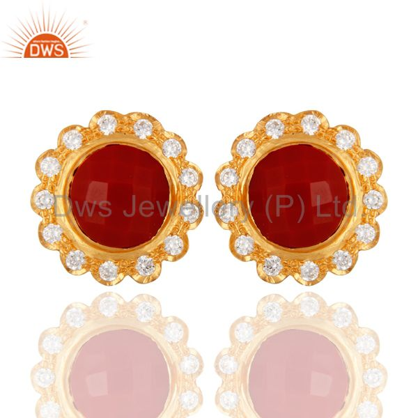 Simulated Red Coral And Cubic Zirconia Halo Stud Earrings In 18K Gold Over Brass