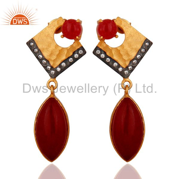 Natural Red Aventurine Gemstone Gold Plated Dangle Earrings With CZ