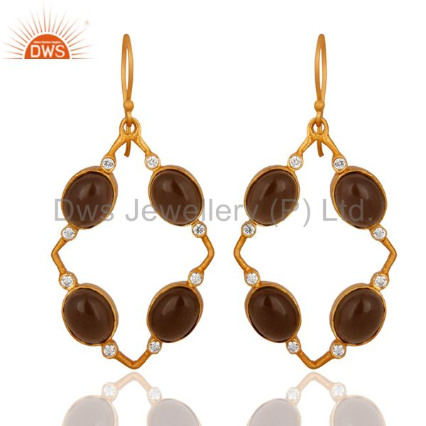 Handmade Smoky Quartz And CZ Designer Yellow Gold Plated Earrings