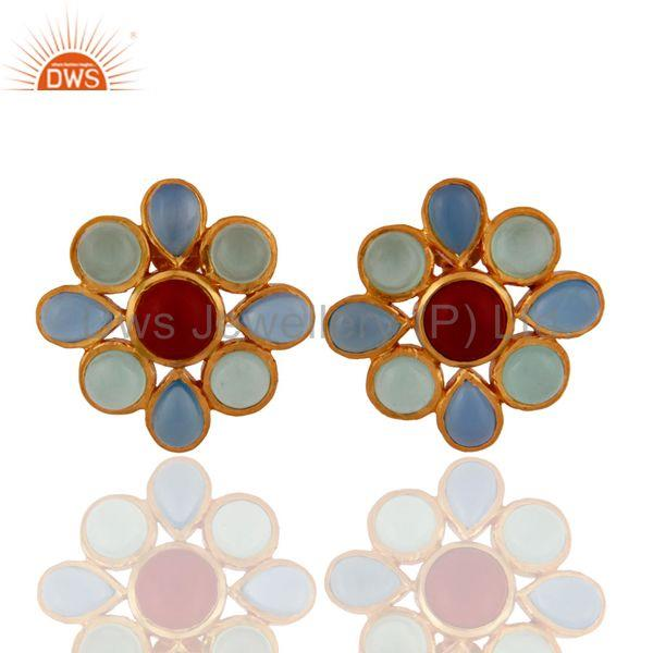 18K Yellow Gold Plated Sterling Silver Chalcedony And Coral Womens Stud Earrings
