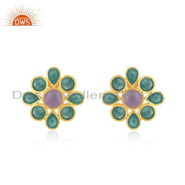 Amazonite Gemstone 925 Silver Yellow Gold PLated Stud Earrings Manufacturer