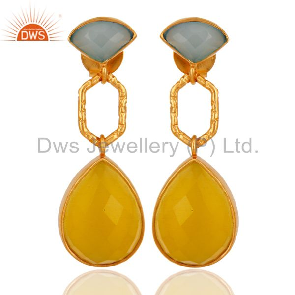 18K Yellow Gold Plated Brass Dyed Chalcedony And Moonstone Drop Earrings