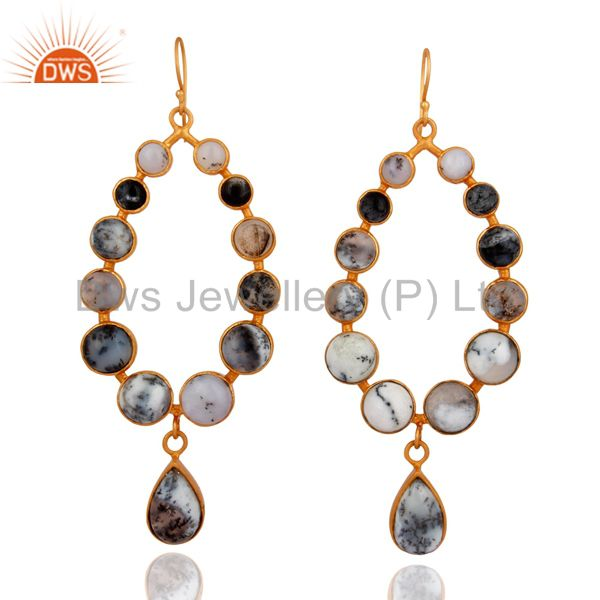 Natural Dendritic Opal Gemstone Bezel Gold Plated Dangle Earrings
