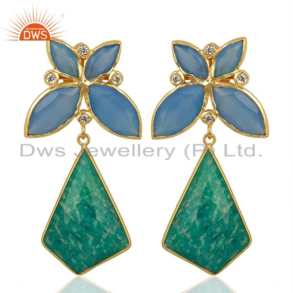 Designer Amazonite Gemstone Gold Plated Brass Fashion Earring Supplier