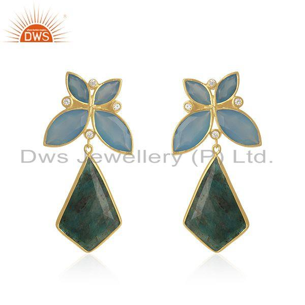Yellow Gold Plated 925 Silver Genuine Gemstone Girls Earrings Wholesaler India