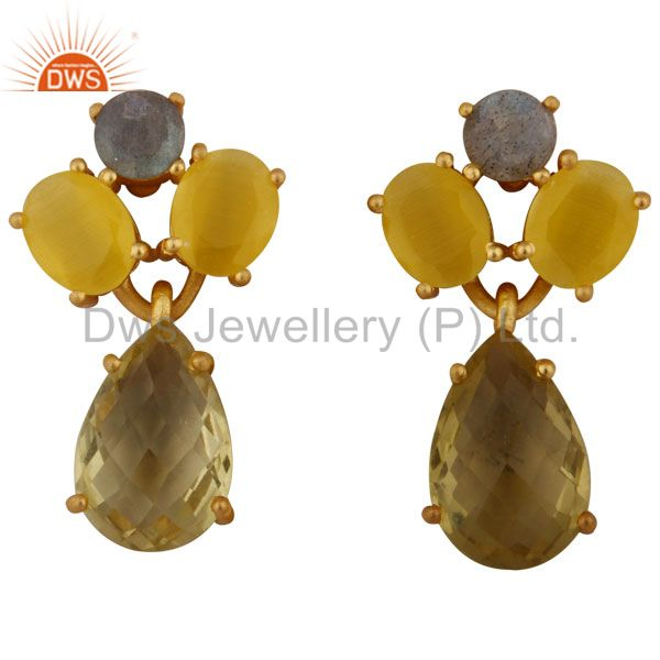 14K Gold Plated 925 Silver Moonstone, Labradorite And Lemon Topaz Drop Earrings