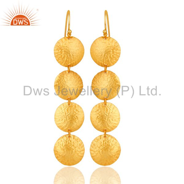 18K Gold Plated Sterling Silver Hammered Disc Earring Dangle Earring