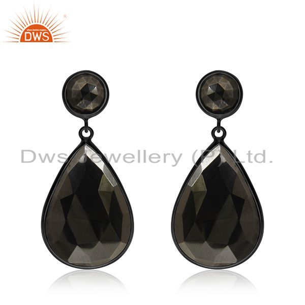 Hematite Gemstone Black Rhodium Plated 925 Silver Drop Earrings Manufacturer