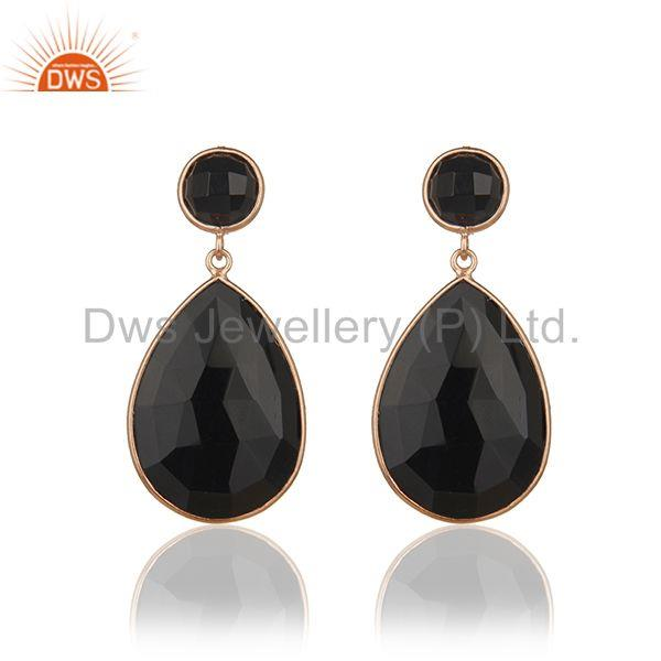 Rose Gold Plated 925 Silver Black Onyx Gemstone Drop Earrings Manufacturer