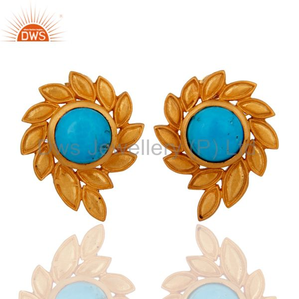 Handmade Turquoise Gemstone Stud Earrings With 22k Yellow Gold Plated Jewelry