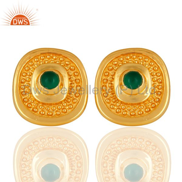 Designer 14K Yellow Gold Plated Shiny Polished Stud Earrings With Green Onyx