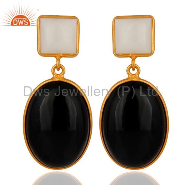 Handmade Black Onyx & Agate Gemstone 18k Gold Plated 925 Sterling Silver Earring