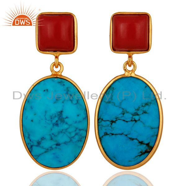 18K Gold Over 925 Sterling Silver Turquoise Gemstone Handmade Bezel Drop Earring