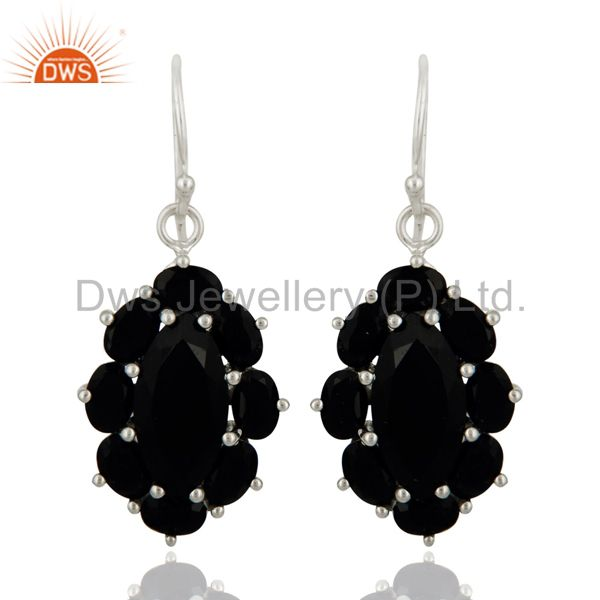 Handmade 925 Sterling Silver Black Onyx Gemstone Prong Setting Designer Earring