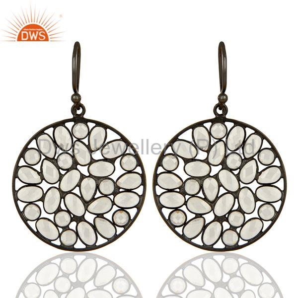 Black Rhodium Plated Silver CZ Earrings Jewelry Manufacturer Supplier