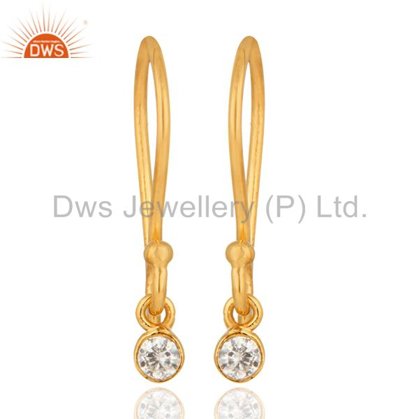18K Solid Yellow Gold Natural White Diamond Round Cut Dangle Earrings