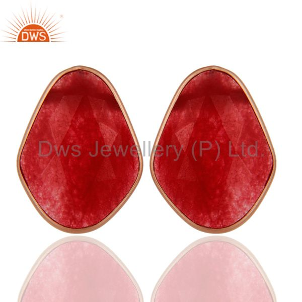 18K Rose Gold Plated Sterling Silver Red Aventurine Bezel Set Stud Earrings