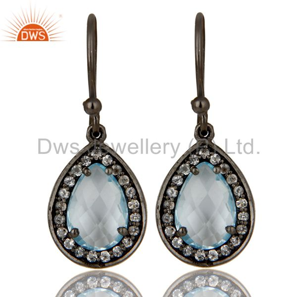 Oxidized Sterling Silver Blue Topaz And White Topaz Drop Earrings