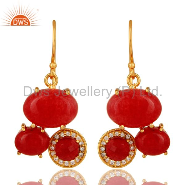 18K Yellow Gold Plated Over Brass Red Aventurine Prong Set Dangle Earrings