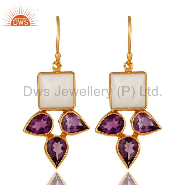Handmade Amethyst And White Agate Earrings With Yellow Gold Plated