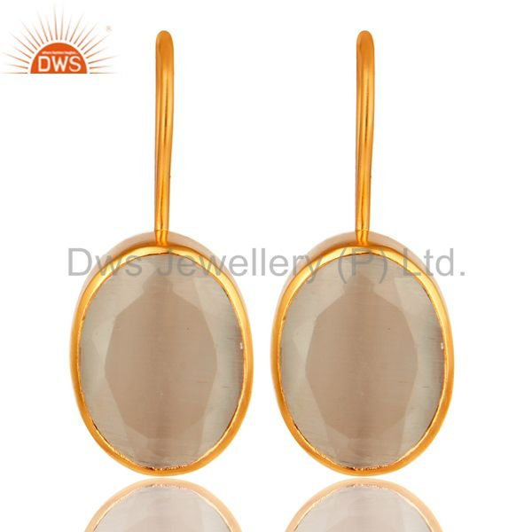 18K Yellow Gold Plated Brass Handmade White Moonstone Bezel Set Earrings