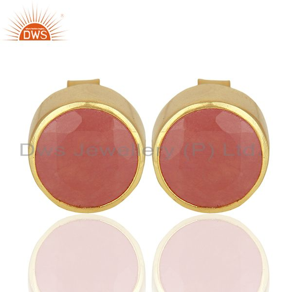 Gold Plated Aventurine Gemstone Gold Plated Stud Earrings Supplier