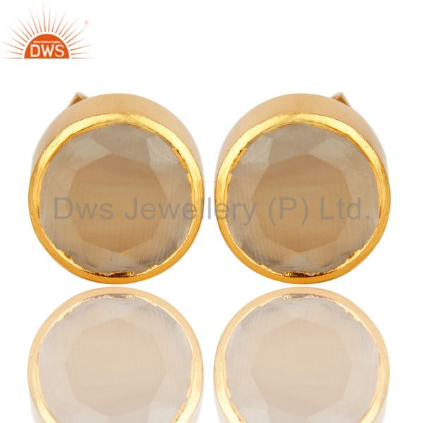 18K Yellow Gold Plated Brass White Moonstone Stud Earrings For Womens
