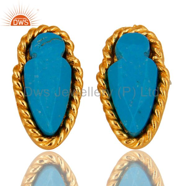 18K Yellow Gold Plated Brass Turquoise Gemstone Post Stud Earrings