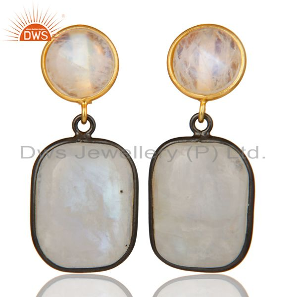 18K Gold Plated & Black Oxidized Sterling Silver Rainbow Moonstone Drops Earring