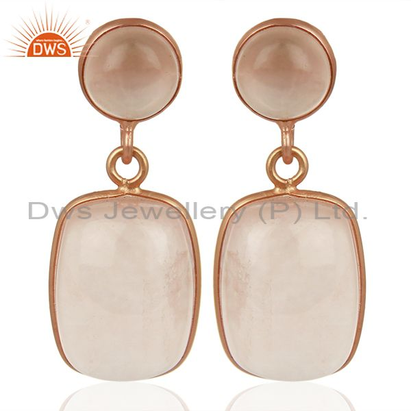 Rose Gold Plated Rose Quartz Gemstone 925 Silver Fashion Earrings