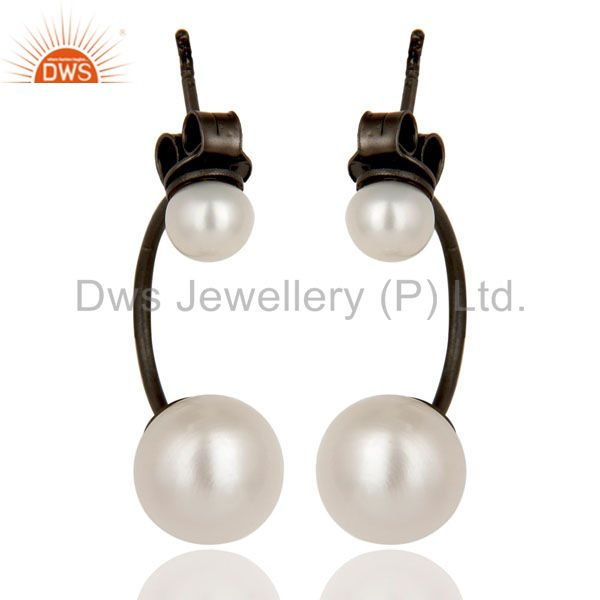 Oxidized Sterling Silver Natural White Pearl Designer Post Stud Dangle Earrings