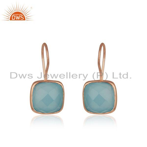 Rose Gold Plated 925 Silver Blue Chalcedony Gemstone Earring Supplier