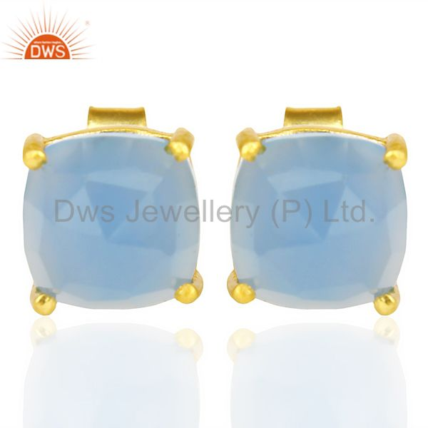 14k Yellow Gold Plated 925 Sterling Silver Blue Chalcedony Gemstone Earring