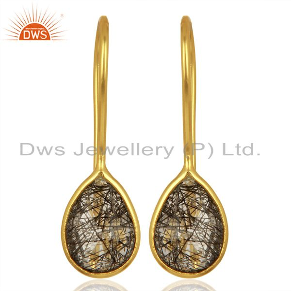Black Rutile Dangle 18K Yellow Gold Plated 925 Sterling Silver Earrings Jewelry