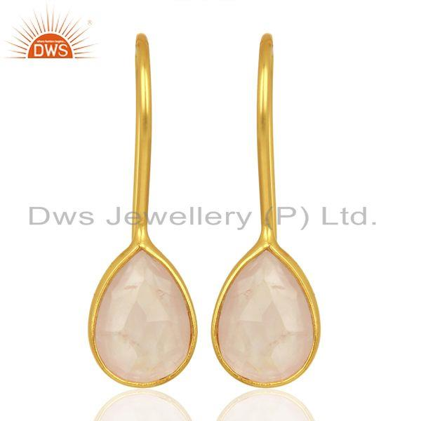 Rose Quartz Dangle 14K Yellow Gold Plated 925 Sterling Silver Earrings Jewelry