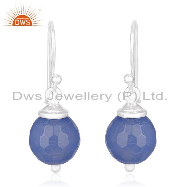 Blue Chalcedony Gemstone 92.5 Sterling Fine Silver Drop Earrings Manufacturers