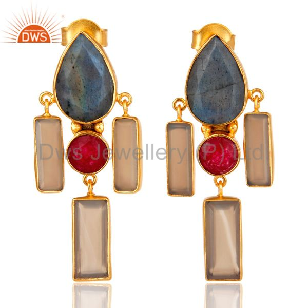 Natural Red Aventurine Labradorite and Chalcedony Gold Plated Dangler Earring