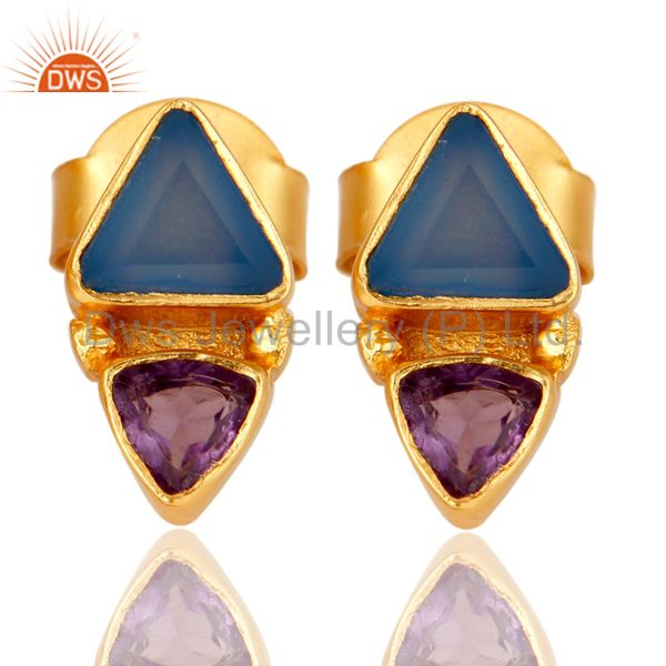 18K Gold Plated Amethys and Blue Chalcedony Stud Earring