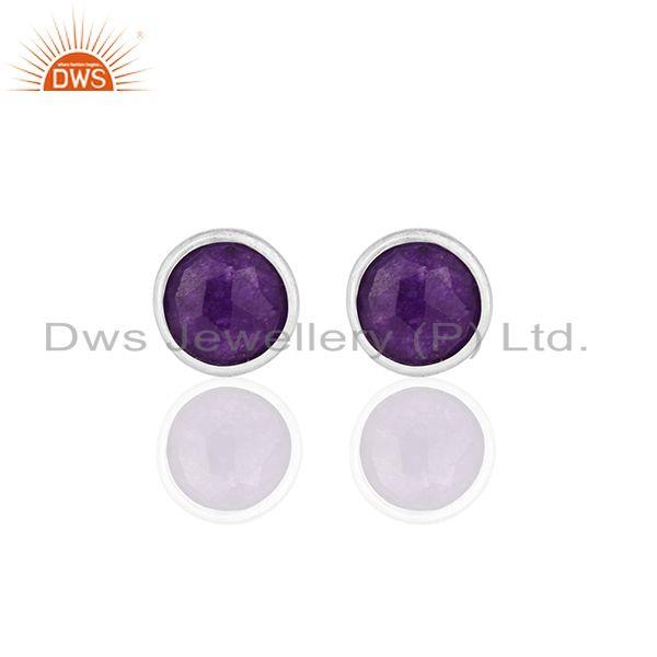 Purple Gemstone 925 Silver Round Stud Earrings Jewelry Manufacturers