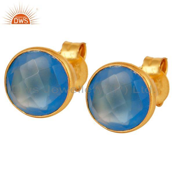 Faceted Dyed Chalcedony Stone Sterling Silver Round Stud Earrings - Gold Plated