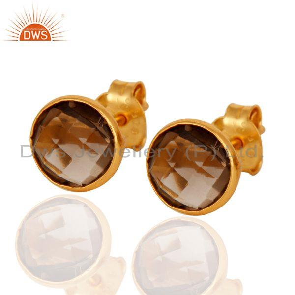 18k Gold Plated Sterling Silver Round Cut Stud Earrings with Smokey Topaz