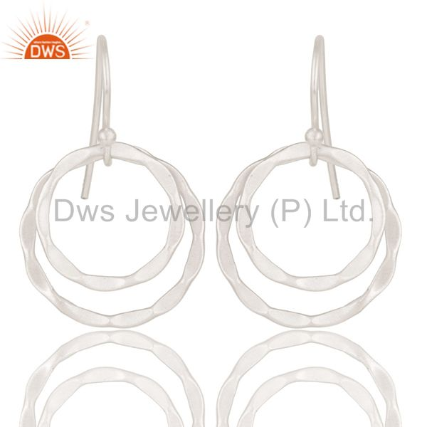 Solid 925 Sterling Silver Handmade Double Round Drops Design Earrings